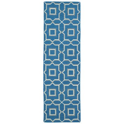 Woodbine Blue Geometric Area Rug Rug Size: Runner 26 x 8