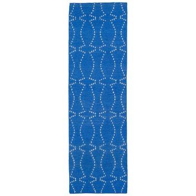 Gillespie Handmade Blue Geometric Area Rug Rug Size: Runner 26 x 8