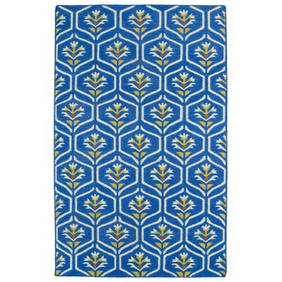 Gillespie Blue Wool Geometric Area Rug Rug Size: 36 x 56