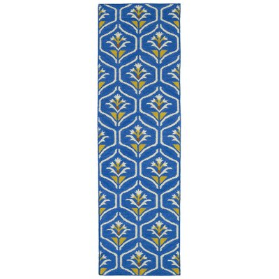 Gillespie Blue Wool Geometric Area Rug Rug Size: Runner 26 x 8