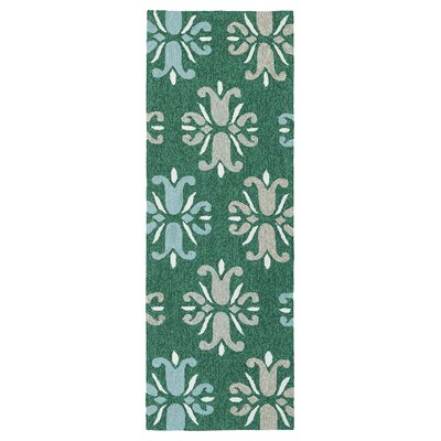 Stepanie Emerald Indoor/Outdoor Area Rug Rug Size: Runner 2 x 6