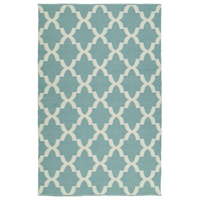 Tyesha Hand-Tufted Teal/White Indoor/Outdoor Area Rug Rug Size: Rectangle 9 x 12
