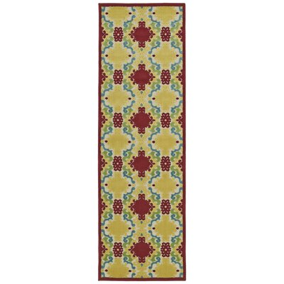 Lewis Yellow/Red Indoor/Outdoor Area Rug Rug Size: Runner 26 x 71