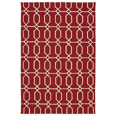 Albury Red/White Indoor/Outdoor Area Rug Rug Size: Rectangle 9 x 12