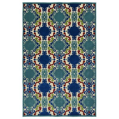 Lewis Machine Woven Turquoise Indoor/Outdoor Area Rug Rug Size: Rectangle 5 x 76