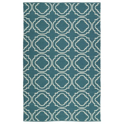 Tyesha Teal & Cream Indoor/Outdoor Area Rug Rug Size: 2 x 3
