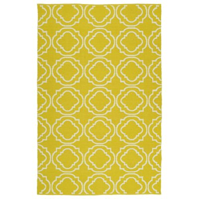 Tyesha Yellow & Cream Indoor/Outdoor Area Rug Rug Size: 9 x 12