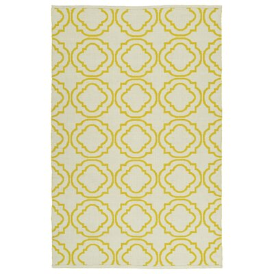 Tyesha Cream & Yellow Indoor/Outdoor Area Rug Rug Size: 9 x 12