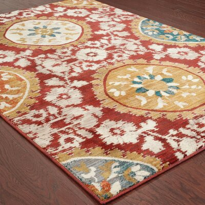 Herring Red/Gold Area Rug Rug Size: 53 x 76
