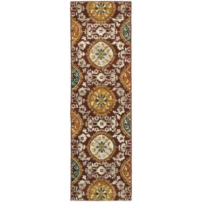 Herring Red/Gold Area Rug Rug Size: Runner 23 x 76