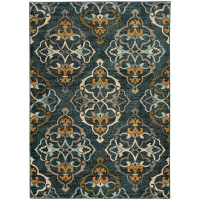 Herring Oranate Quatrefoil Blue/Gold Area Rug Rug Size: 53 x 76