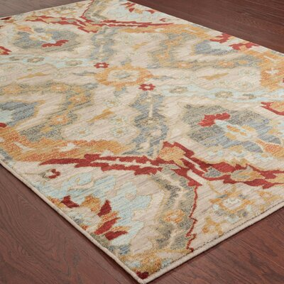Herring Overscale Beige/Orange Area Rug Rug Size: 67 x 96