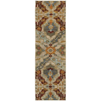 Herring Overscale Beige/Orange Area Rug Rug Size: Runner 23 x 76