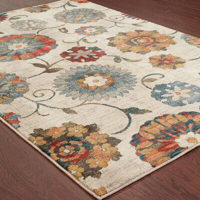 Herring Largescale Orange/Ivory Area Rug Rug Size: Rectangle 910 x 1210