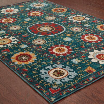 Herring Blue/Red Area Rug Rug Size: Rectangle 53 x 76