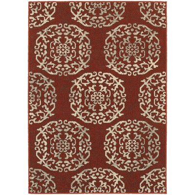 Alexander Red/Beige Area Rug Rug Size: Rectangle 53 x 76