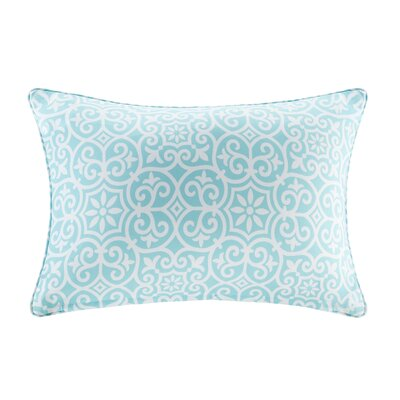 Callery Fretwork 3M Scotchgard Outdoor Lumbar Pillow Color: Aqua