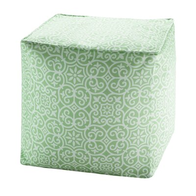 Callery Fretwork Pouf Upholstery: Green