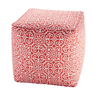 Callery Fretwork 3M Scotchgard Outdoor Pouf Ottoman Upholstery: Red