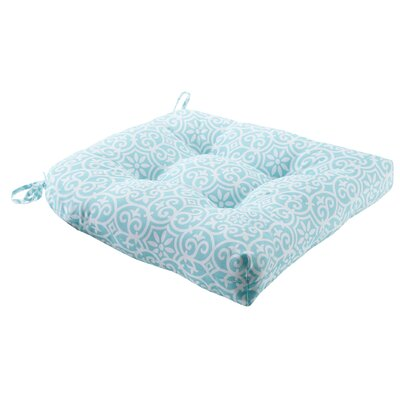 Callery Printed Fretwork 3M Scotchgard Outdoor Dining Chair Seat Cushion Fabric: Aqua