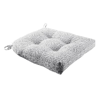 Callery Printed Fretwork 3M Scotchgard Outdoor Dining Chair Seat Cushion Fabric: Gray