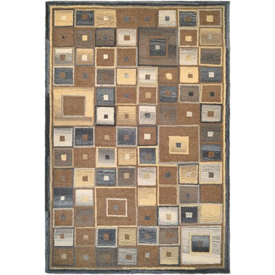 Owensville Abstract Squares Hand-Woven Brown Area Rug Rug Size: 36 x 56