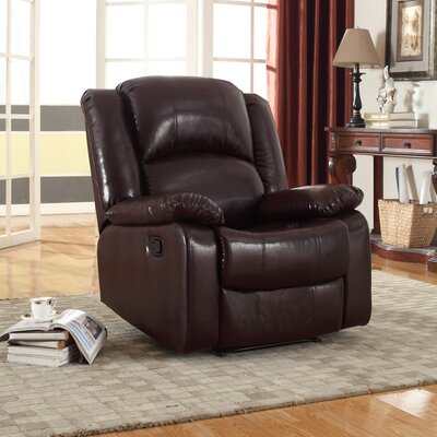 Parsonsfield Manual Glider Recliner Upholstery: Brown