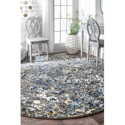 Stoneham Gray/Silver Area Rug Rug Size: Round 8'