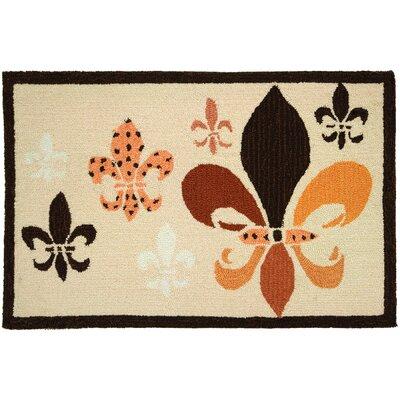 Emily Fleur De Lis Black/Tan Area Rug Rug Size: 110 x 210