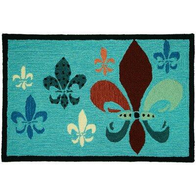 Emily Fleur De Lis Teal/Brown Area Rug Rug Size: 110 x 210