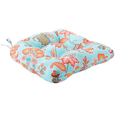 Perrysburg Floral 3M Scotchgard Outdoor Dining Chair Cushion Fabric: Aqua