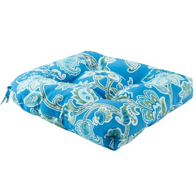 Perrysburg Floral 3M Scotchgard Outdoor Dining Chair Cushion Fabric: Blue
