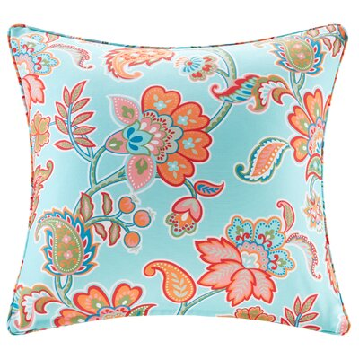 Perrysburg Floral 3M Scotchgard Outdoor Throw Pillow Color: Aqua