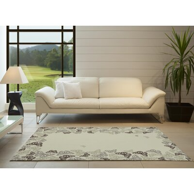 Hunter Butterfly Beige Area Rug Rug Size: 5 x 8