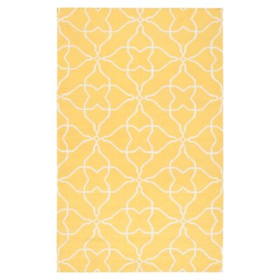 Ketner Sunshine Yellow & White Ikat Area Rug Rug Size: Rectangle 8 x 11