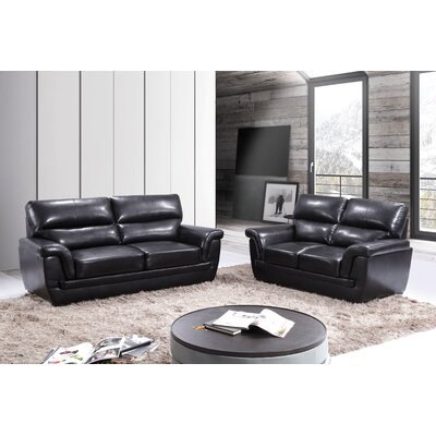 Kester Leather 2 Piece Living Room Set Upholstery: Black