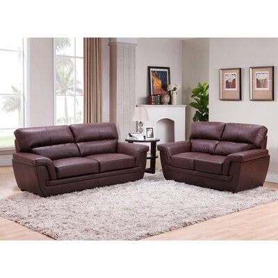 Annawan 2 Piece Leather Living Room Set Upholstery: Brown