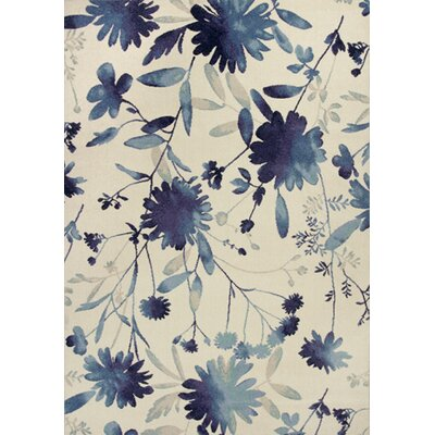 Abramowitz Blue Watercolors Area Rug Rug Size: 53 x 77