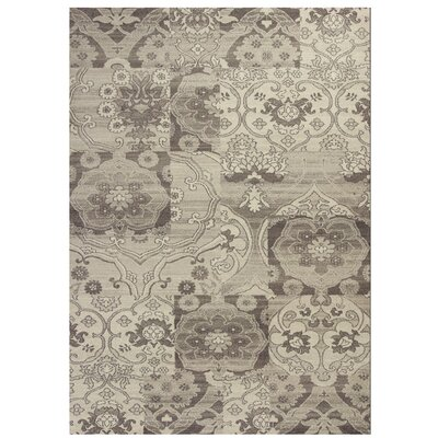 Galvan Black & Gray Brocade Area Rug Rug Size: 53 x 77