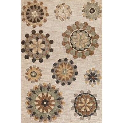 Wannamaker Beige Retro Flora Rug Rug Size: Rectangle 79 x 99