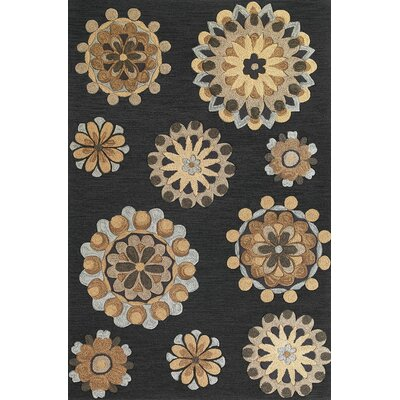 Angel Charcoal Retro Flora Rug Rug Size: 9 x 13