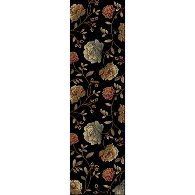 Winters Black Capri Area Rug Rug Size: Runner 23 x 77