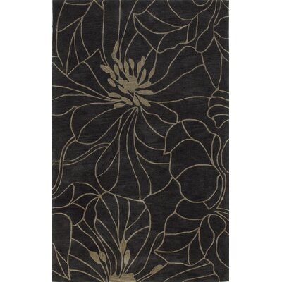 Anthem Black Charcoal/Taupe Floral Chic Area Rug Rug Size: 8 x 10