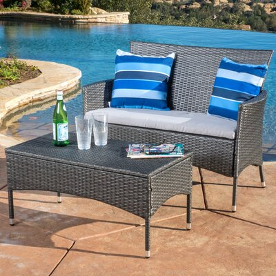 Louella 2 Piece Lounge Seating Group Frame Finish: Gray