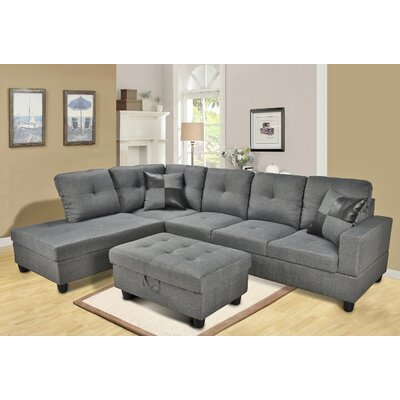 Russ Sectional Upholstery: Dark Brown, Orientation: Left Hand Facing