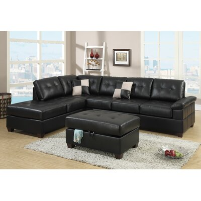 Corporate Reversible Chaise Sectional Upholstery: Black