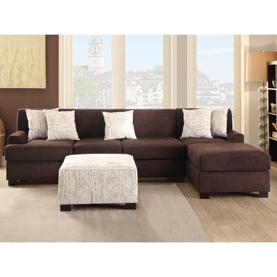 Corporate Reversible Sectional Upholstery: Chocolate
