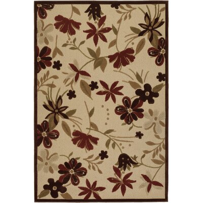 Casey Botanical Garden Sand/Terracotta Indoor/Outdoor Area Rug Rug Size: 52 x 76