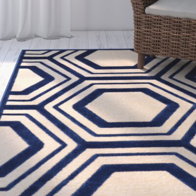 Springdale Blue/Beige Area Rug Rug Size: Rectangle 4 x 57