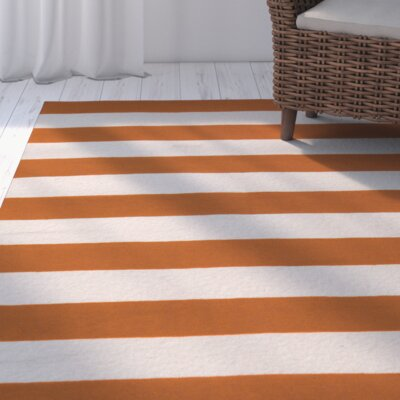 Haggerty Burnt Orange White Striped Area Rug Rug Size: 9' x 13'